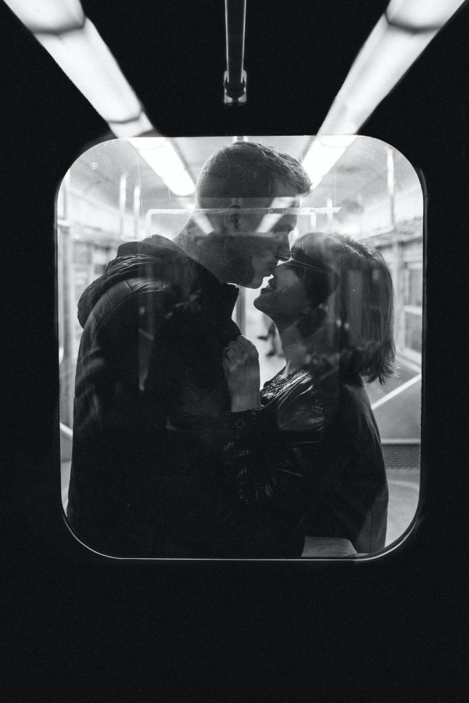 This image has an empty alt attribute; its file name is jonathan-borbagrayscale-photo-of-man-kissing-woman-s-nose-while-standing-3121474.jpg